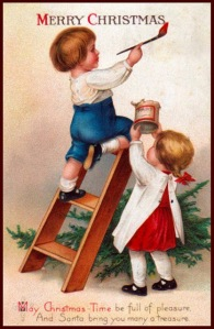 """From Bytes: """"An extraordinarily gifted child with the brush. Is it me or does the ladder seem to not be leaning against the wall at the right angle when compared to the writing?"""" He better watch it if he doesn't want to break his neck."""
