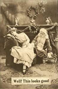 Santa seems to have his eye on the sleeping girl here. Yeah, that looks very creepy if you ask me.