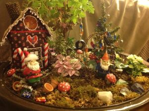There's even some semblance of a gingerbread house, too. Like the lights on the trees and the tire swing though.