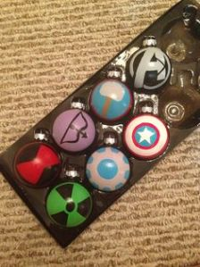 Each one has a logo of each Avenger. Of course, the pool has expanded since these were made.