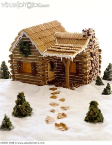 This one gingerbread logs with icing to fill the gaps. Not to mention, the Chex roof to top it all off.