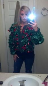 Well, this one is decorated in tinsel and ornaments. Sure to make you stand out like a sore thumb.
