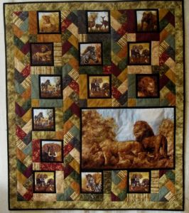 This one surely has a lot of squares dedicated to animals in Africa. Love the background.