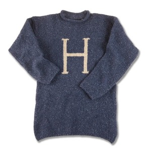 Each Weasley sweater has a color with the wearer's first initial. Harry's is blue. Ron's is maroon.