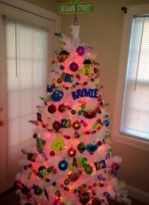 This is a cute Christmas tree. Love how they used letters and numbers. Love it.