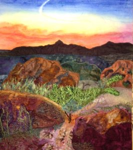 Except possibly a desert sunset. But you have to admire how it almost looks like a painting. But yes, it's a quilt.