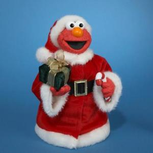 This is Elmo dressed in a Santa outfit with a present. I know kids will love it and sure it's adorable.