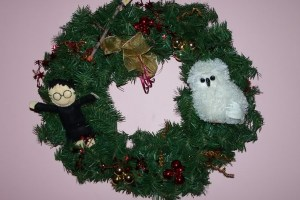 This one includes Hedwig, Harry, and a wand. And all are added in what would've been an otherwise normal Christmas wreath.