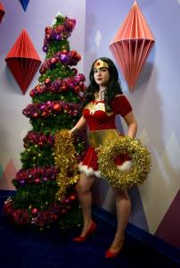 Because like any skimpy clad superheroine, Wondy has to have her own Santa skirt. Also, her Lasso of Truth is gold tinsel.
