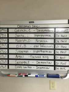 This was on a board in a hospital. Dr. Mest will have a lot of interesting stories to tell come January.