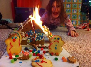 Yeah, that's not a good sight to see during the holidays. Hope this little girl doesn't get too traumatized.