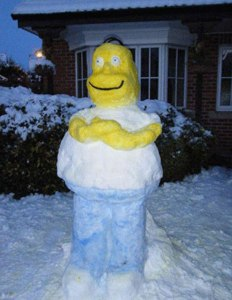 Actually this is a snowman Homer Simpson so it's no wonder. But it really resembles him.