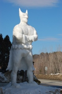 This Batman snow sculpture certainly looks huge. Then again, he does have an imposing presence.