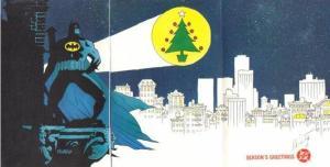 This is a card from 1989. Nice that Gotham used a Christmas tree for the bat signal.