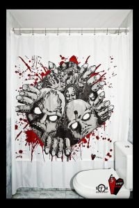 Don't worry, it's just a zombie shower curtain. But on the bright side, it's guaranteed to help with constipation.