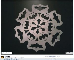 It's a paper snowflake with the Batman sign. And it's in 2 variations.