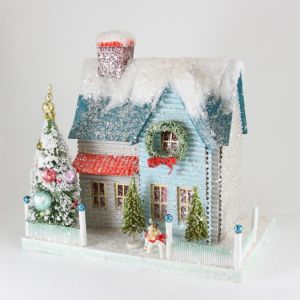 This one is in blue, red, and white. Doesn't have as flashy decor as the other one, but it's quaint.