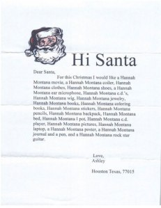 I'm sure this letter was written before 2013 when Miley Cyrus's Hannah Montana was extremely popular with young girls. Yet, her wholesome image would soon change after her Disney Channel show ended.
