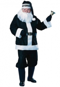 """This costume has """"Bah! Humbug!"""" on the hat. As if Santa didn't have more to worry about."""