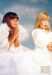 "The blond girl is like, ""Perfect little angel? My ass."" Yeah, really not in the angelic spirit."