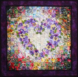 Love the floral background on this. Like especially how all the flowers in this wreath are purple, too.