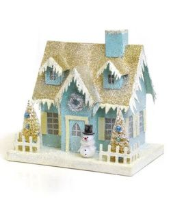 This one has a gold glitter roof and white icicles. Love the little snowman in front, too.