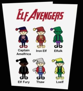 This one has the Avengers and Loki in elf hats. Still, you have to admit that this is cute.