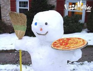 I'm sure the pizza was used just for the photo as far as I'm concerned. Still, would you take pizza from a snowman?