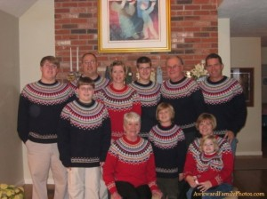 Yes, this family has the same sweater on for Christmas. But at least they have different colors according to gender.