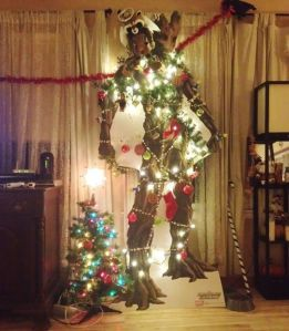 Seems like Groot requires more lights on his cutout than the much smaller Christmas tree. Like the Rocket angel though.