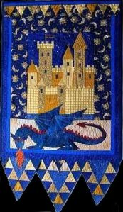 This one even depicts a fire breathing blue dragon. Not sure about the sun and moon fabric though.