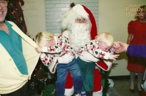 Poor Santa doesn't seem to know what to do here. Still, a lot of kids are scared of Santa. Remember that.