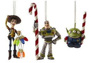 Consists of Woody with Christmas lights, Buzz Lightyear with a candy cane, and an alien with one, too. All in all, these are great.