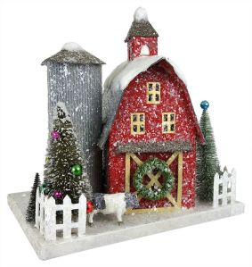 This one has a wreath and trees. Love the snow on the roof and the silo.