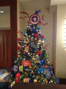 This one includes masks as well as comic books. But it still has the Captain America shield on top.