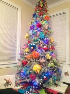 The ornaments on this tree seem fuzzy. It also has quite colorful decorations. Love it.