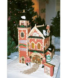 Yes, this is a gingerbread firehouse. And yes, it's decorated for Christmas. I'm sure people will enjoy this one.