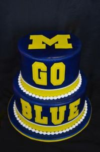 "Though the words ""Go Blue"" are in yellow. Or should I say maize as far as the fans are concerned."