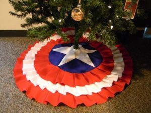 This one is in Captain America's shield as always. But it fits great on the tree from the looks of it.