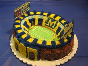 Yes, it's another Michigan stadium cake. But this one is in a different style than the last.
