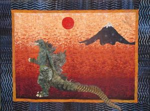 Because we have Mount Fuji, a red rising sun, and Godzilla. The Godzilla is a biggest giveaway.