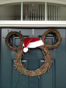 After all, a Santa hat can always make any wreath look suitable for Christmas. Even one with mouse ears.