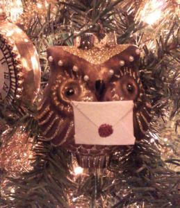 Well, it's an owl ornament with a letter in its beak. Understand that wizards correspond through owl post in these books.