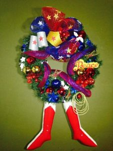 This one has fancy wreath decorations along with Wondy's boots and her lasso. A great wreath for the feminist girl at heart.