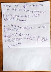 Uh, I'm sure Santa will have no problem coming down chimneys. But the kid makes an excellent point.