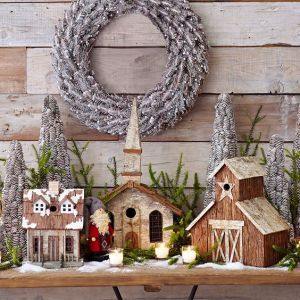 Never saw Christmas village buildings in this style before. So it goes on the post.