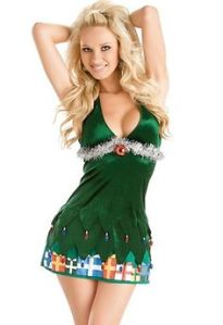 Okay, she might be dressed as the kind of Christmas tree you put on a table. Because it doesn't seem to cover much of her.