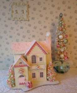 This one has bejeweled decorations and a rosy garland. Sure it's pink and girly, but I like it.