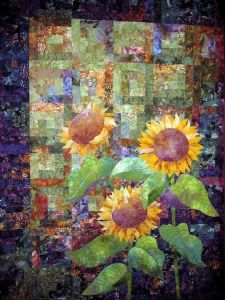 This one also uses a lot of patchwork for its background. But it's more apparent when you see some of the fabric patterns.