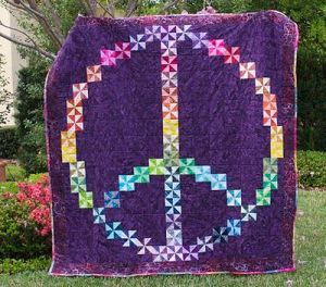 Sure it may be a rainbow peace sign that you'd associate with hippies. But each square on this has a unique pinwheel pattern.